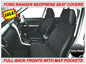 FITS FORD RANGER PX1,PX2,PX3 FULL COVER FRONT NEOPRENE SEAT COVERS MAP POCKETS