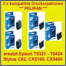 5 x PELIKAN e34 e38 e39 e40 cartuccia per Epson Stylus c82 c82n cx5200 cx5400