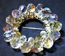 Borealis Faceted Beads Pin Brooch Vintage Gold-tone Double Ring Aurora