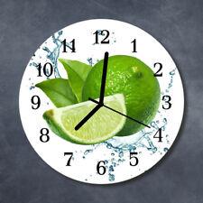 Glass Wall Clock Kitchen Clocks 30 cm round silent Lime Green