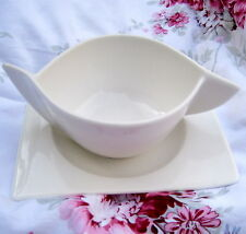 Villeroy and Boch New Wave Caffe Square White Winged Soup Bowl Snack Plate Set