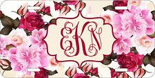 MONOGRAMMED LICENSE PLATE CUSTOM CAR TAG BEIGE PINK FLOWERS