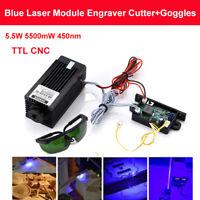 Focusable TTL CNC 5.5W 5500mW 450nm Blue Laser Module Engraver Cutter w/ Goggles