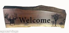 Welcome Carved Solid Walnut Wood Sign Rustic Country Primitive Log home decor