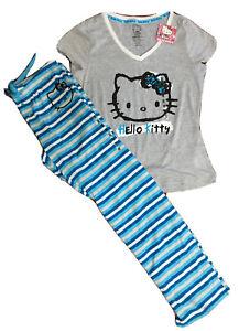 NWT HELLO KITTY Teen/Adult Cotton Blend 2PC Pajama Set, S/Sleeve & Pants, Sz Med