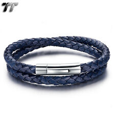 TT Double-Row Blue Leather 316L Stainless Steel Bracelet (BR213F) NEW Arrival