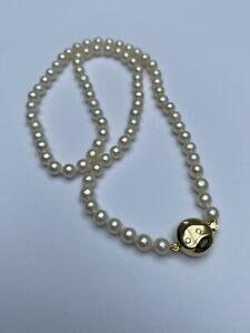 Akoya Perlenkette Mit 585 Gold Verschluss Und Diamanten