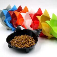 Cat Food Bowl Dish plastic Cat Ears Shape Non-slip Food Water Feeder Bowl set