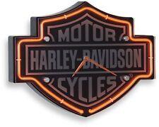 Etched Bar and Shield Shape Neon Clock Harley Davidson Orange Brushed Aluminum
