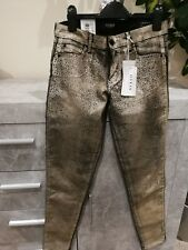 GUESS Los Angeles Women's SKINNY Fit Jeans Gold Leopard Print Size 28
