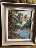 Ölgemälde Fluss In Den Bergen unleserlich signiert Impressionismus 1953