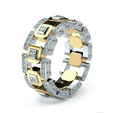 Men Women Lover Two Tone Shiny Rhinestone Finger Ring Wedding Jewelry Gift Deco