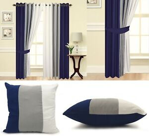 Eyelet curtains Navy Blue Ring Top Fully Lined Pair of curtains Navy Grey White