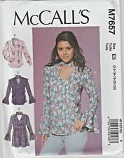 McCall's Sewing M7657 SZ 14-22 Misses Tops Tunic Banded V-Neck Ruffle Options