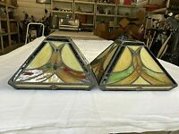 (2) Mission Tiffany Slag Style Stained Faux Glass Lamp Light Shades