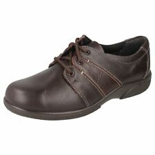 Easy B Glossop Ladies Chocolate Lace up Shoes EE Fit (R1A)