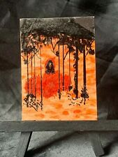 ACEO Original Red Ridding Hood Medium Mixed Media on Paper Signed by Artist