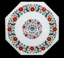 """24"""" Marble Side Coffee Table Top Precious Peacock Floral Inlay Christmas Decor"""