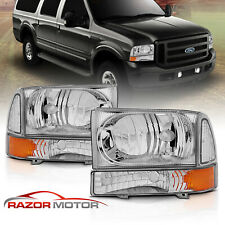 99-04 Ford Super Duty F250 F350 F450 F550/00-04 Excursion Chrome Headlights
