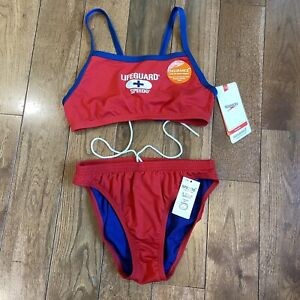 "NWT Womens Speedo Endurance 2 Piece Swimsuit ""Lifeguard"" Red Blue Sz 8"