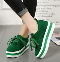 New Womens Casual Creepers Sport Shoes Lace Up Round Toe Platform Sneakers Size