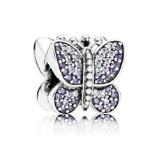 Silver Bead Dazzling  Sparkling Butterfly Charms Fit European Bracelet