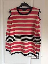 Dorothy Perkins Size 18 Pink/White/Black Cold Shoulder Jumper Thin Knit
