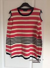 Dorothy Perkins Size 20 Pink/White Cold Shoulder Jumper Thin Knit