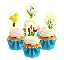 Novelty Bright Spring Flower Mix 12 Edible Stand Up wafer paper cake toppers