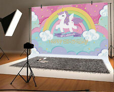 Cartoon Cute Unicorn Photography Background 5x3ft Baby Birthday Backgrops Vinyl