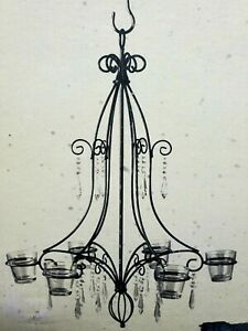 RARE NIB Yankee Candle Wrought Iron Glass Votive Candle Chandelier 6 Arm