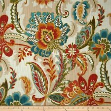 AYER FIESTA Richloom Linen Cotton Jacobean Floral Fabric BTY Red Blue