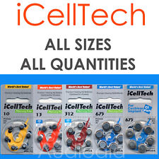 IcellTech Premium Hearing Aid Batteries, All Sizes (Size 10,13,312,cochlear)