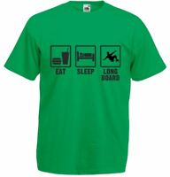 Eat Sleep Longboard, Mens Printed T-Shirt 100 % Cotton Tee Soft Casual Tshirt