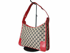 Authentic GUCCI GG Pattern Canvas Leather Red Shoulder Bag GS0929