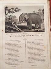 LA FONTAINE.L'ÉLÉPHANT ET LE SINGE DE JUPITER.  FABLE ET GRAVURE 1834