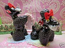 Vtg Poodles W Rhinestone Collars Red Hair Bows SET OF 2 UP-CYCLED FOR CHARITY
