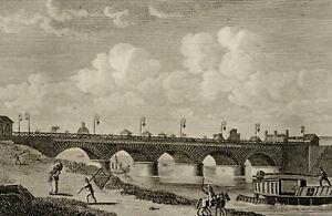 1818 Antique view of PARIS: PONT d AUSTERLITZ. France. 202 years old engraving.