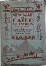 Egypt Cartography Large Size New Map of Cairo & Environs by A. Nicohosoff c.1933