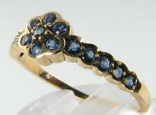 DIVINE 9CT 9K GOLD DAISY BLUE SAPPHIRE 17 STONE ART DECO INS RING FREE RESIZE