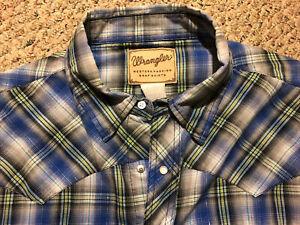 Wrangler Mens 3XL Pearl Snap Western Shirt Short Sleeve Pockets Blue Plaid