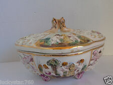 VINTAGE CAPODIMONTE HAND CRAFTED FISH & CHERUB  FIGURAL COVERED  CANDY DISH