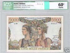 FRANCE 5000 FRANCS TERRE ET MER 5-4-1951 ALPHABET L.50 N° 95847 ICG 60 AU/UNC