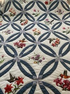 """Vintage Hand Made Patchwork Double Wedding Ring Quilt 82"""" x 83"""""""