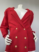 Vtg Adolfo II Womens Double Breasted Gold Buttons Cardigan Red Sweater Size Med