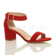 Womens Ladies Low Mid Block Heel Ankle Strap Smart Summer Evening Sandals Size UK 6 / EU 39 / US 8 Red Suede