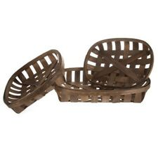 Set of 3 Dark Brown Tobacco Baskets Country Farmhouse Basket Cabin Home DecorNew