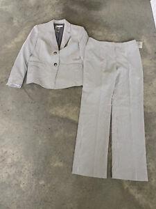 Kasper Grey White Striped Seersucker Womens Pant Suit Kate Classic Fit Size 10