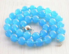 new 10mm sea blue gem Glory Pearl Necklace 18""