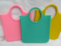 LADIES BRIGHT NEON FASHION SILICONE HANDBAG CLUTCH PURSE, 3 COLOURS: PINK YELLOW